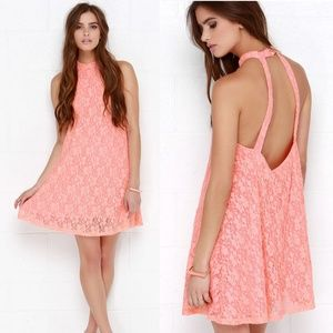 NEW MINKPINK Dancing Dark Coral Lace Swing Dress S